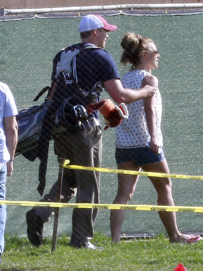 Britney Spears and David Lucado walked around the course.