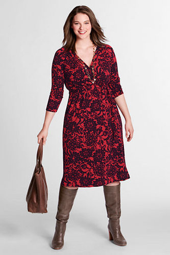 Women's Plus Size 3/4-sleeve Pattern Gathered Surplice Dress