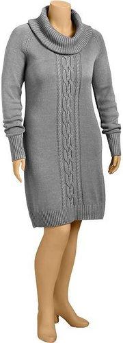 Women's Plus Cowl-Neck Cable-Knit Dresses