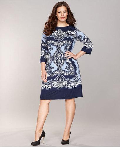 INC International Concepts Plus Size Dress, Three-Quarter-Sleeve Printed Shift