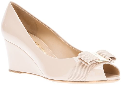 Salvatore Ferragamo peep toe wedge pump