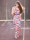 Printed Cut Out Maxi Dress
