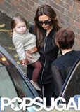 Victoria Beckham visited a London theater with Harper.