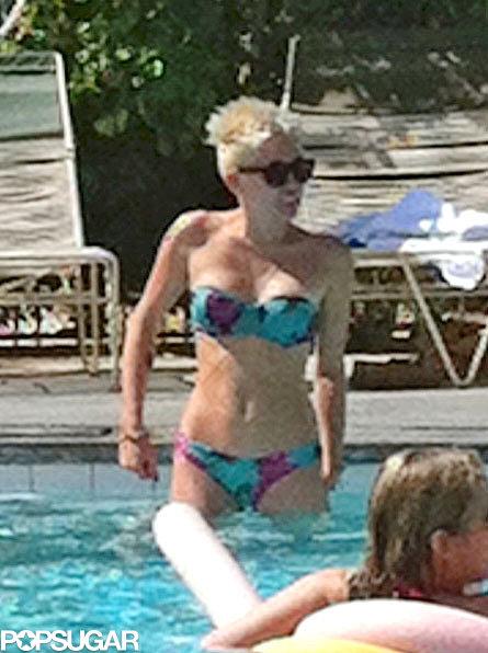 Miley Cyrus went swimming in a bikini.