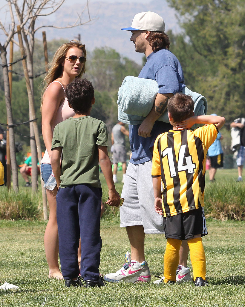 Britney Spears stopped to chat with Kevin Federline at the game.