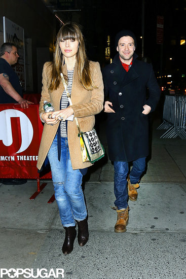 Jessica Biel and Justin Timberlake saw Book of Mormon in NYC.