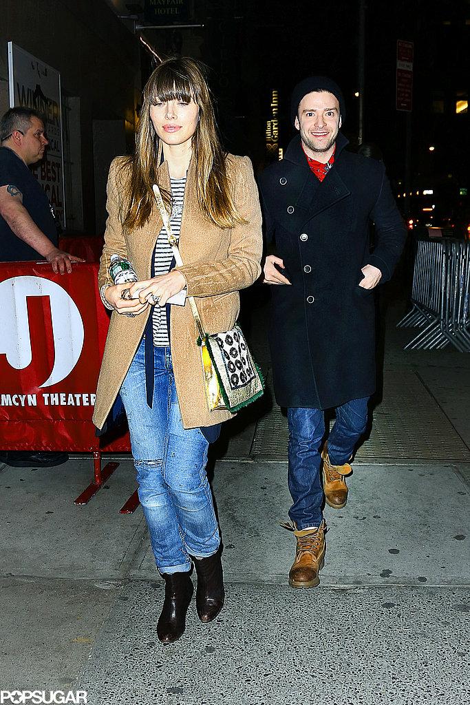 Jessica Biel and Justin Timberlake saw Book of Mormon in NYC.