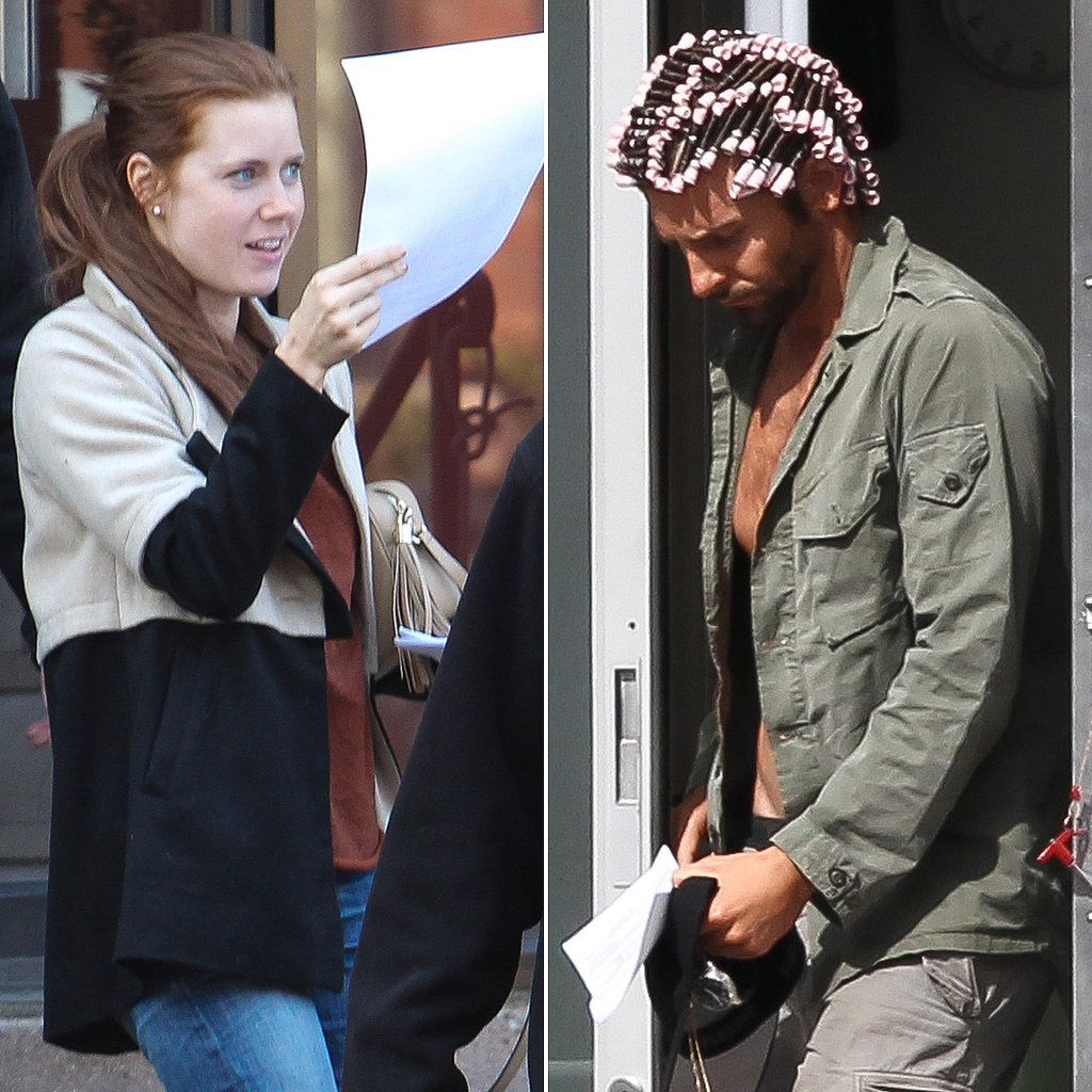 Shirtless Bradley Cooper Curls His Hair on Set With Amy Adams