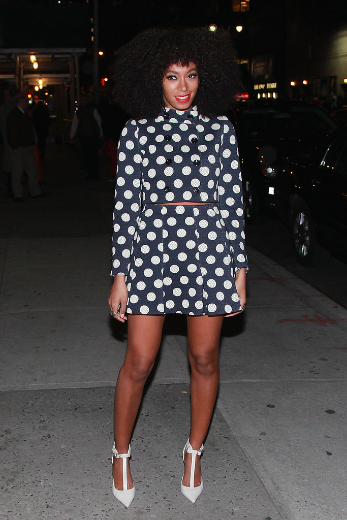 Solange's polka-dot Moschino outfit, complete with on-trend white ankle-strap Elizabeth and James pumps, lit up the streets of NYC.