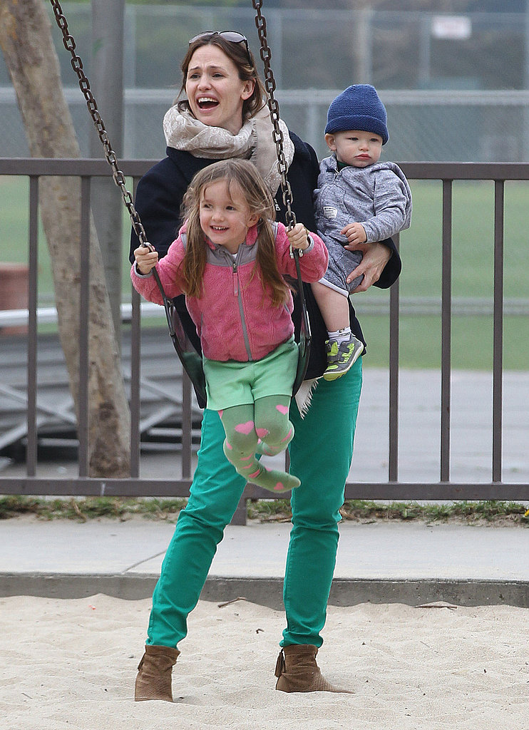 Jennifer Garner celebrated St. Patrick's Day with Seraphina and Samuel at an LA park.