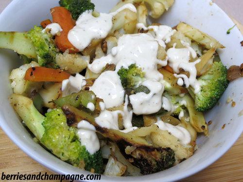 Caramelized Vegetables with Lemon Tahini Dressing