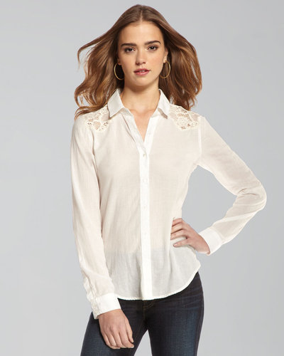 TEXTILE Elizabeth and James Austin Lace-Inset Button-Down Blouse
