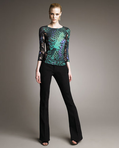 Emilio Pucci Mixed-Print Lace-Panel Tee &amp; Double-Face Boot-Cut Pants
