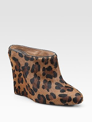 Live It Up Leopard-Print Calf Hair Wedge Mules