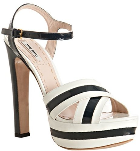 Miu white and navy patent leather platform ankle strap sandals