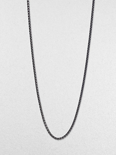 David Yurman Long Blackened Sterling Silver Chain Necklace