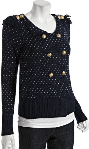 Leifsdottir deep navy stitched wool military cardigan sweater