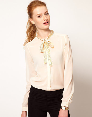 Vero Moda Sequin Trim Pussy Bow Blouse