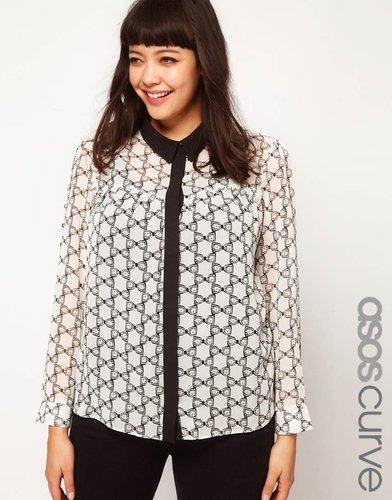 ASOS CURVE Shirt In Bow Print