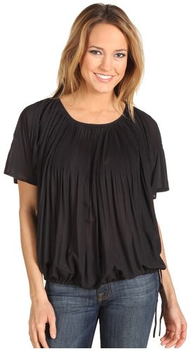 DKNYC - Batwing Pleated Blouse (Black) - Apparel