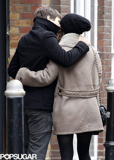 Keira Knightley planted a kiss on fiancé James Righton.