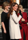 Kate Middleton wore a white jacket with a collar for her visit to the offices of Child Bereavement UK in Saunderton, Buckinghamshire.