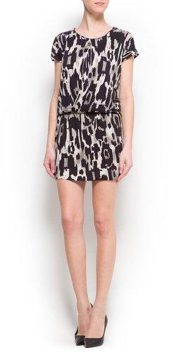 Draped printed dress