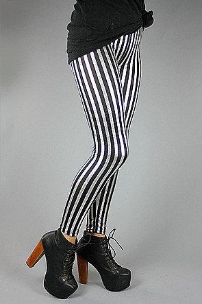 Forever Strung The Metallic Circus Stripe Legging (Silver)