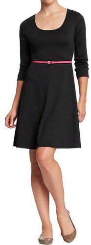 Women's Belted 3/4-Sleeve Dresses