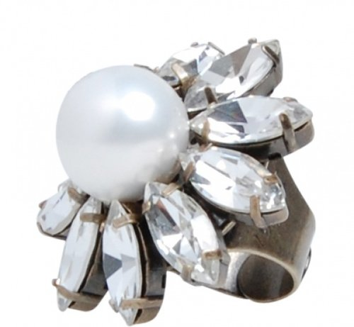 Pearl & Crystal Flower Ring