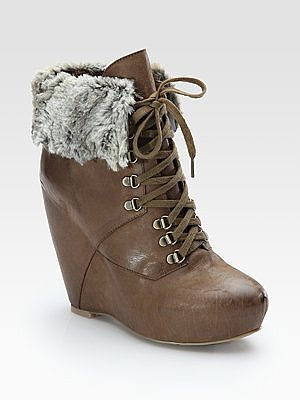 Daphnea Leather Faux-Fur Cuff Ankle Boots