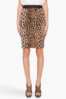 ELIZABETH AND JAMES Leopard Print Pencil Skirt