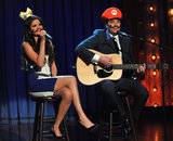 Selena Gomez sported a mustache to sing a Mario Kart love song with Jimmy Fallon on Late Night With Jimmy Fallon.