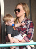 Hilary Duff wore shades as she made her way to class with Luca Comrie in LA on Wednesday.