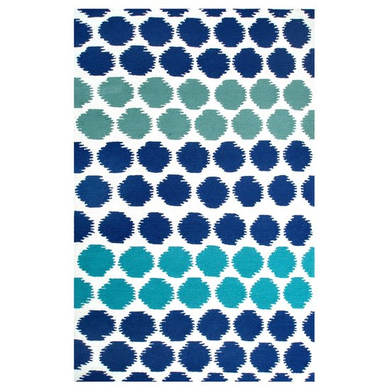A mix of cool shades makes this blue dotted rug ($500-$1,000) a fun, graphic option.