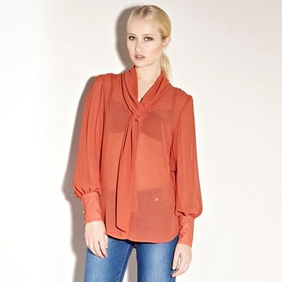 Orange Cowl Pussy Bow Blouse