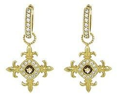 Jude Frances Fleur Cross Charms with Cinnamon Topaz - Yellow Gold