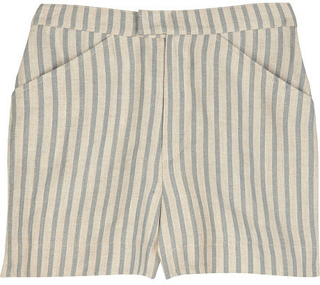 Tucker High-waisted striped linen shorts
