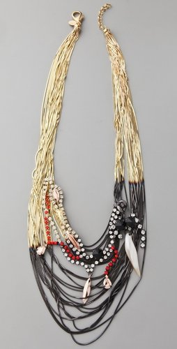 Iosselliani Shaded Fringe Multi Chain Necklace