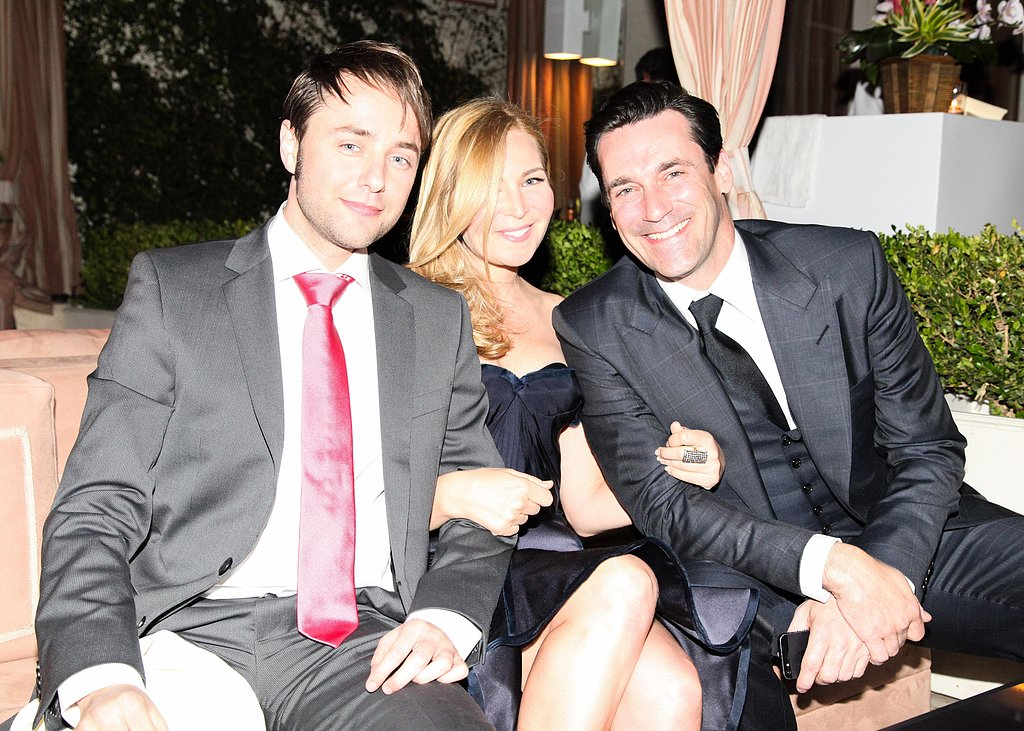 Vincent Kartheiser, Jennifer Westfeldt, and Jon Hamm chatted during the party. Source: Aleks Kocev /BFAnyc.com