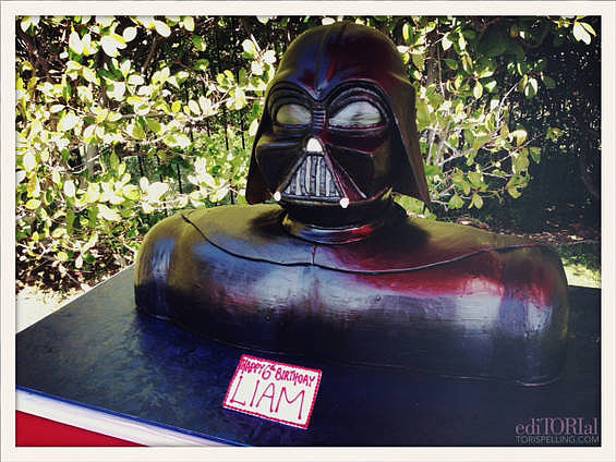 Liam's amazing Darth Vader cake from Hansen's Cakes! A family tradition . . .