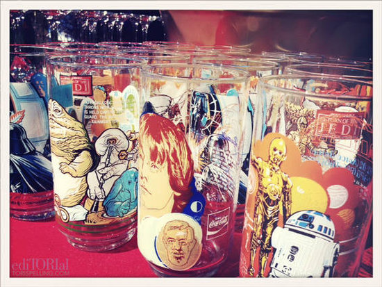 We used vintage Star Wars cups . . .