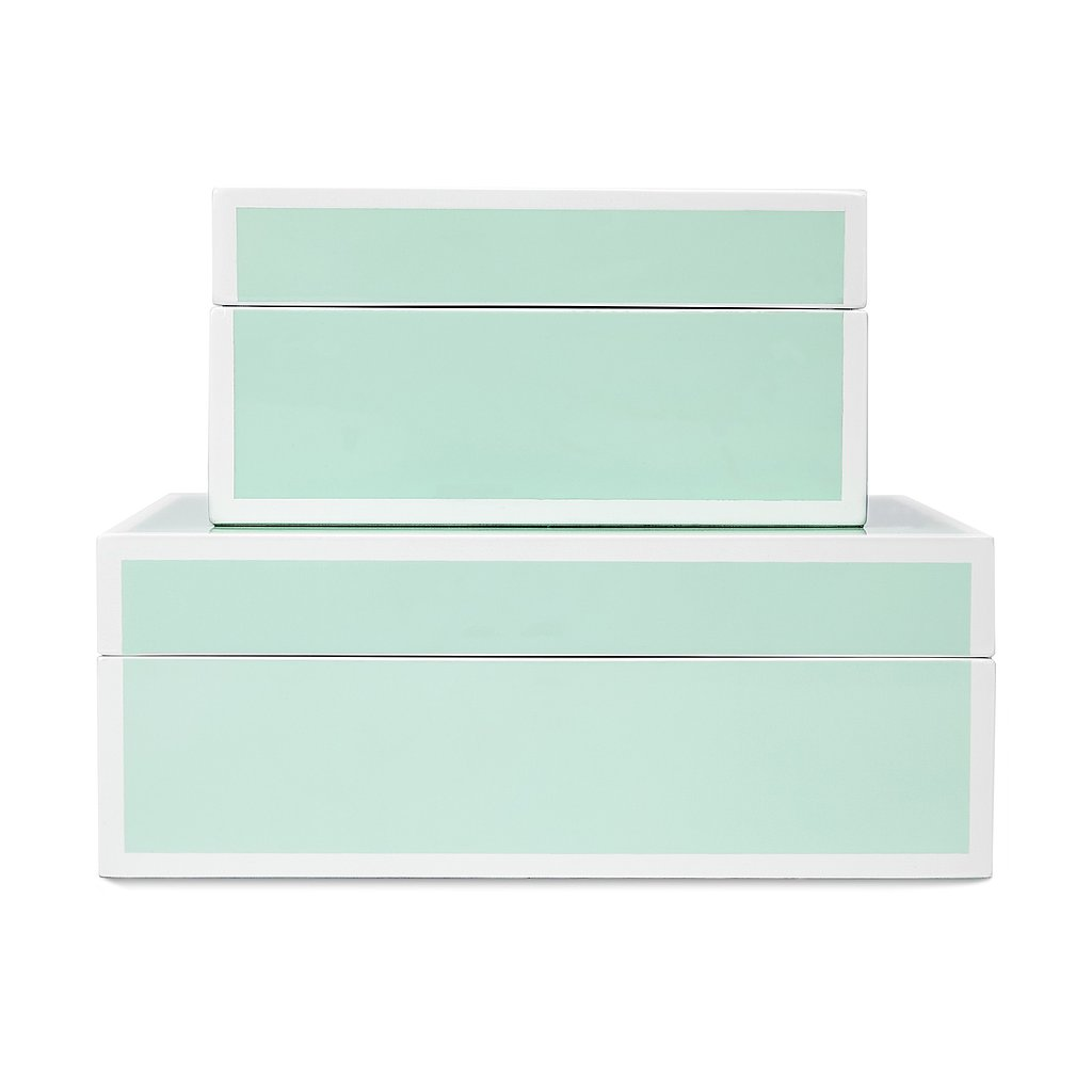 Store your favorite baubles and trinkets in this teal lacquer box ($58) for an accent that pops.
