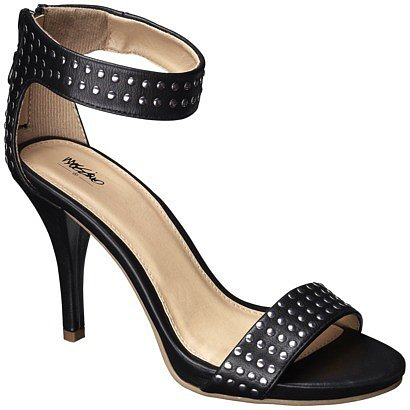 Women's Mossimo® Vidal Heeled Ankle Strap Sandals with Studs - Black