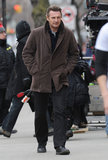 Liam Neeson worked on A Walk Among the Tombstones in NYC on Monday.