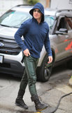 Stephen Amell showed off his superhero look in Vancouver to shoot scenes for Arrow on Wednesday.