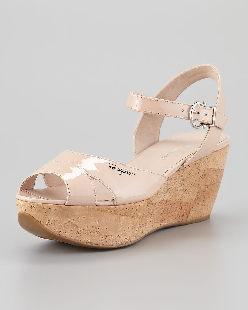 Salvatore Ferragamo Patent Cork Wedges