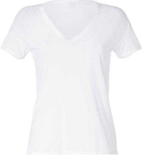 James Perse White Short Sleeve V-Neck Cotton T-Shirt