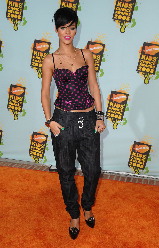 Rihanna kept it casual in 2008 with a printed bustier-inspired camisole and relaxed pants.