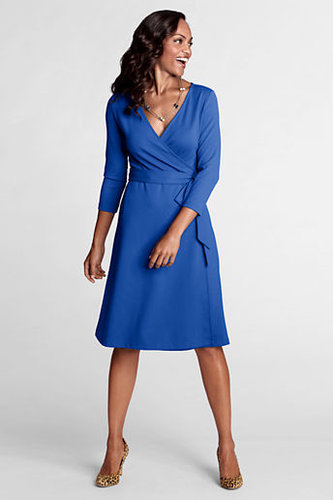 Women's Tall 3/4-sleeve Knit Faux Wrap Drapey Ponté Dress
